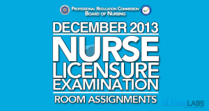 Room Assignments for December 2013 Nurse Licensure Exam (NLE)