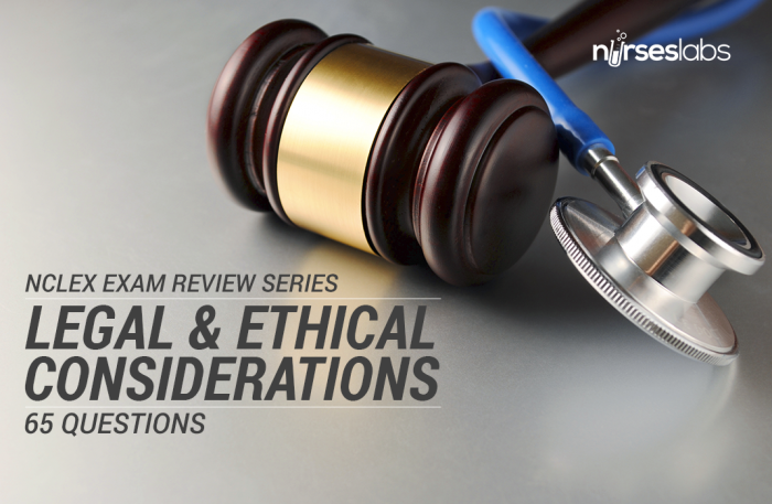 ethical and legal considerations in testing This exam is all about the legal and ethical considerations in nursing which also covers nursing jurisprudence and a few questions about leadership and management we.