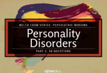 Personality Disorders NCLEX Practice Quiz 2 (50 Items)