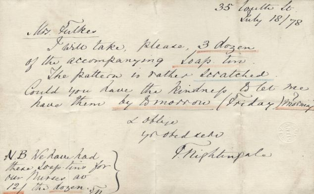 A letter from Nightingale dated 1878