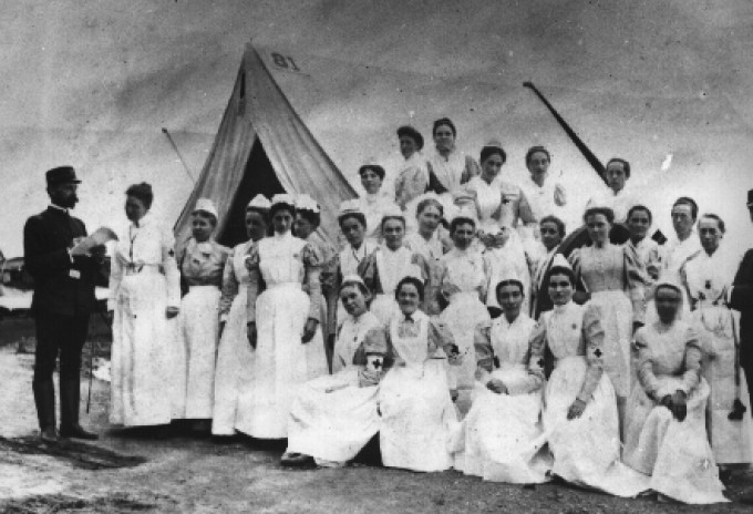 "Nightingale and some of the 38 ""handmaidens of the Lord"" (as she called them) to nurse wounded British soldiers in the Crimean War"
