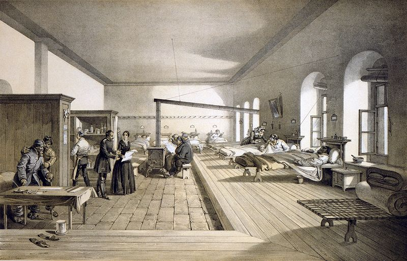 A ward of the hospital at Scutari where Nightingale worked, from an 1856 lithograph