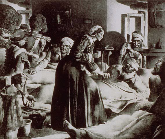 Nightingale providing care to wounded and ill soldiers during the Crimean War