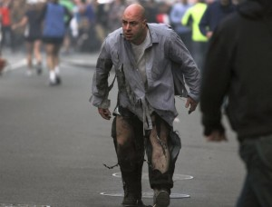 Famous photograph of James Costello taken after being injured in the 2013 Boston Marathon bombing.