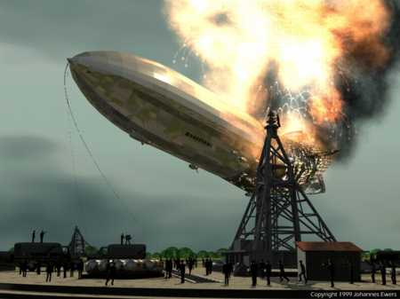 Explosion and destruction of the dirigible Hindenburg