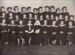 Class photo during her graduation at St. John's University in Brooklyn, New York