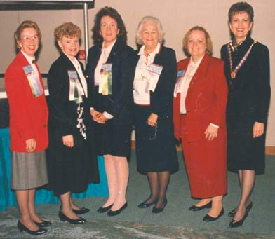 King helped organize the 1991 Biennial Convention of the Honor Society of Nursing, Sigma Theta Tau International which was held in Tampa, Florida. From left: Marinell Jernigan Bostian, Cecilia Grindel, Judy Beal, Imogene King, Marie Lobo and Beth Vaughan-Wrobel. Vaughan-Wrobel was installed that year as president.