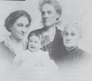 Four Generations, Left to right: Lucy K Rogers, mother; Martha E. Rogers; Laura B. Keener, grandmother; Lucy M. Brownlee, great-grandmother. via V. M. Malinski & E.A.M. Barrett, 1994