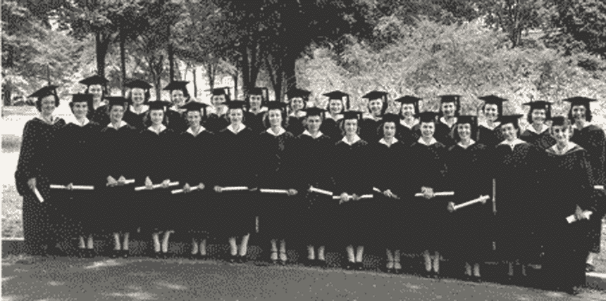 Vanderbilt University School of Nursing Class of 1942 with Dorothy Johnson on the back row second from left.