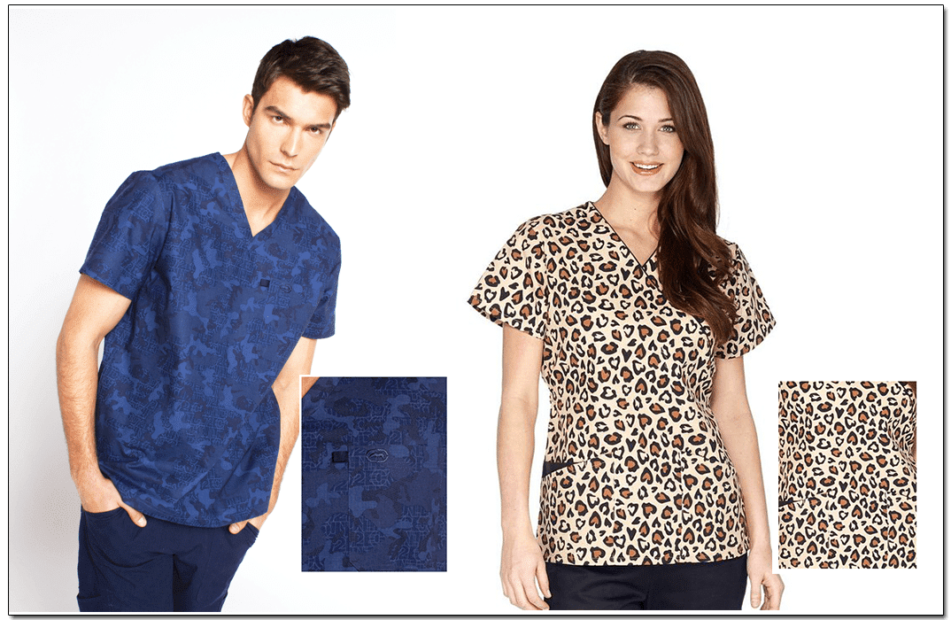 Printed scrubs. Images via: Koi | Cherokee