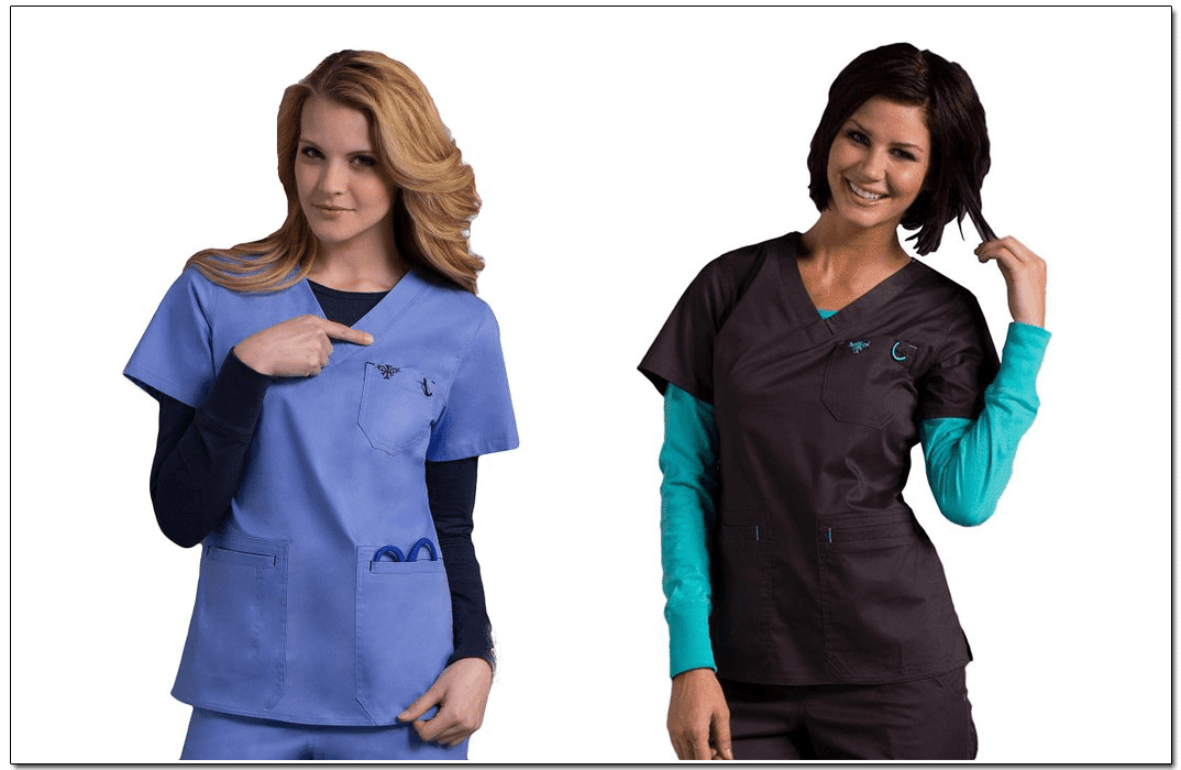 Scrubs with embroidery. Images via: Med Couture