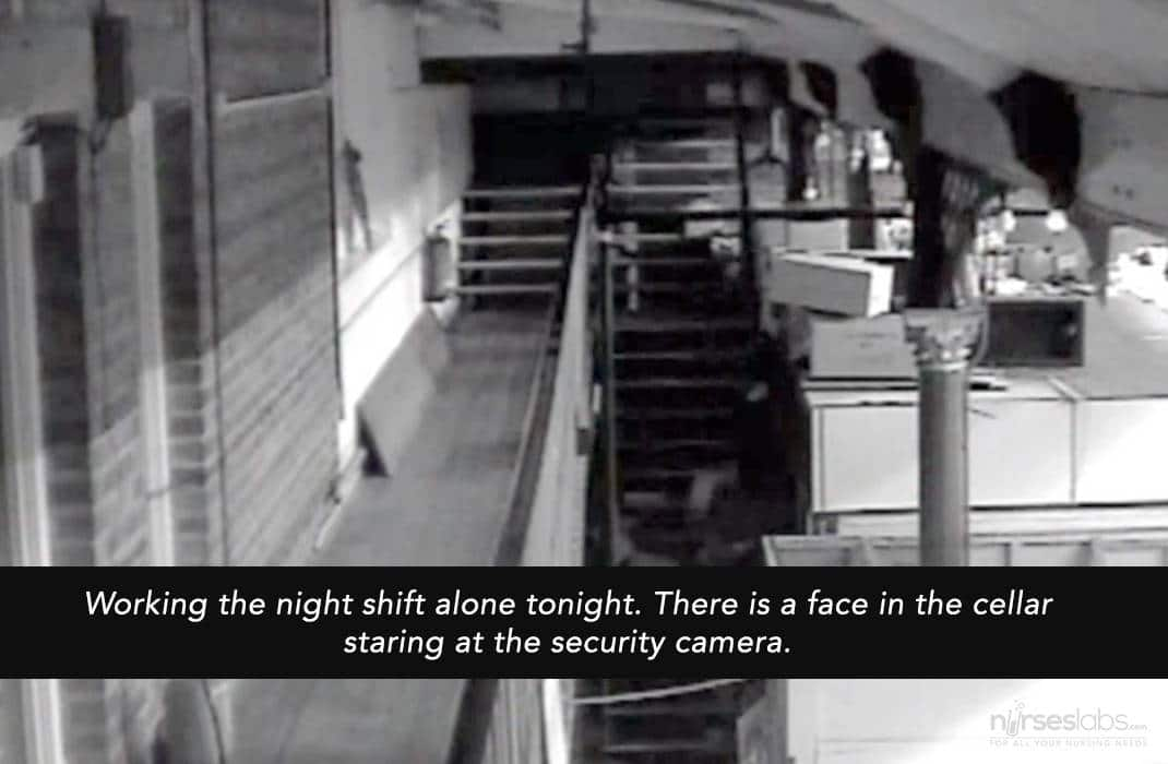 Working the night shift alone tonight. There is a face in the cellar staring at the security camera.