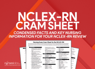 Nursing Exam Cram Sheet for NCLEX-RN