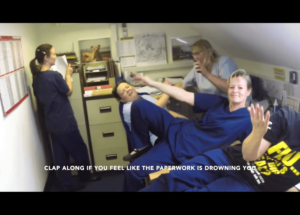 Nurses having fun by making a parody video.