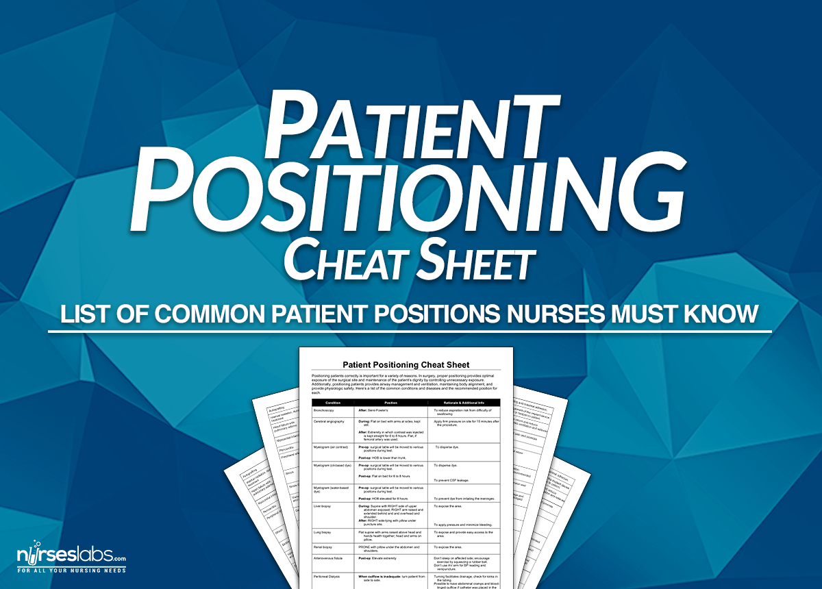 Patient Positioning Nursing Cheat Sheet for NCLEX • Nurseslabs