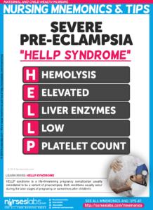 Severe Preeclampsia (HELLP Syndrome) Nursing Mnemonic