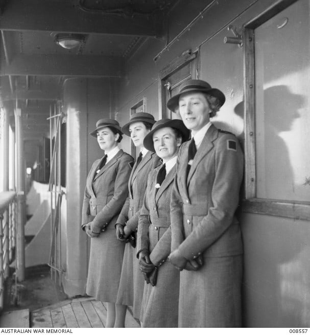 Embarkation of the ship Malaya 3. L-R: Mary Cuthbertson, Sr Clarice Halligan, Sr H Syer, and Nurse R. Wilson. Source: awm.gov.au