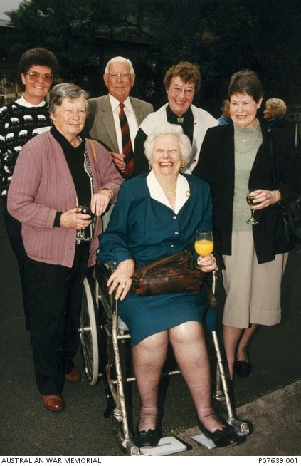 Vivian Bullwinkel (front) at the party held for the closing of the Fairfield Hospital. She is surrounded by nursing staff who worked with her at the hospital where she worked as Director of Nursing. Via: awm.gov.au