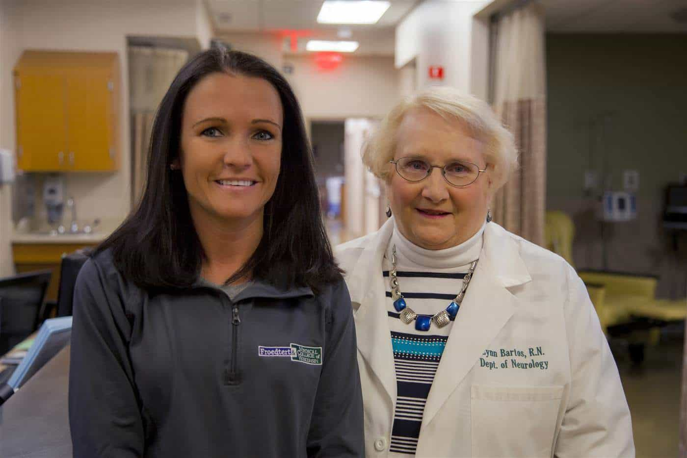 Nicole Krahn, left, and Lynn Bartos today. Both are amazed by their chance reunion. (Courtesy Froedtert and the Medical College of Wisconsin)