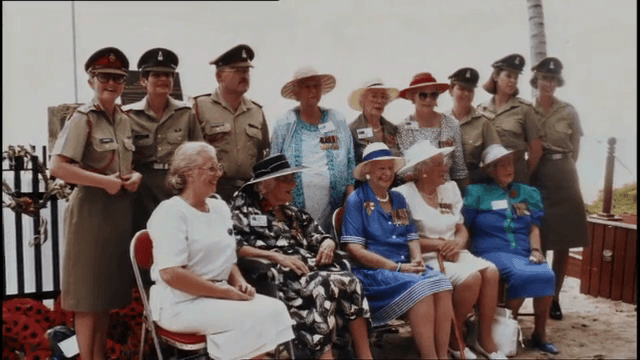 Bullwinkel together with other POWs during the unveiling of shrine in Bangka Island.