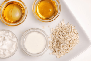You can create your own exfoliation scrub at home. Oatmeal and milk help shed away dead skin cells while nourishing your skin.