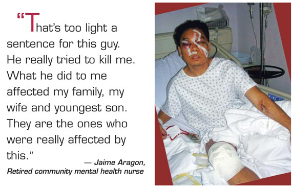 Jaime Aragon is a retired community health nurse who was nearly killed in 2008 when a patient stabbed him multiple times. Image via: pef.org