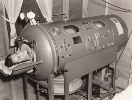 "Colloquially known as the ""iron lung"", enables a person to breathe when normal muscle control has been lost. It consisted of a large airtight tank in which the patient laid in, with his or her head sticking out."