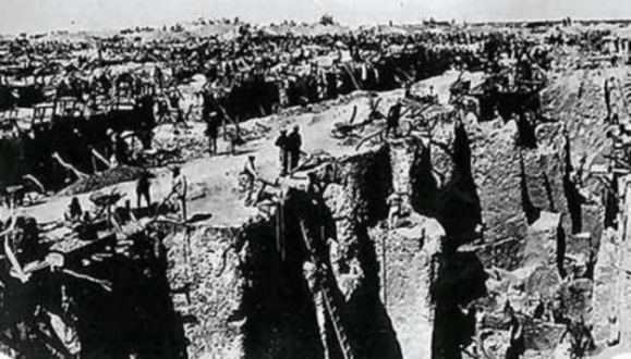 The Kimberly mine in 1873, only a few years after the digging started via http://www.sahistory.org.za