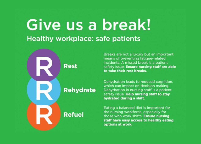 """Nurses urged to """"Rest, Rehydrate, Refuel"""" at work"""