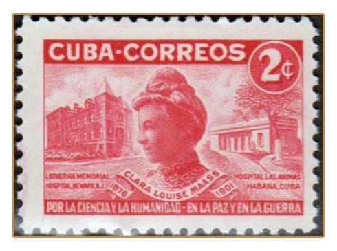 Cuban stamp commemorating Clara Louise Maass.