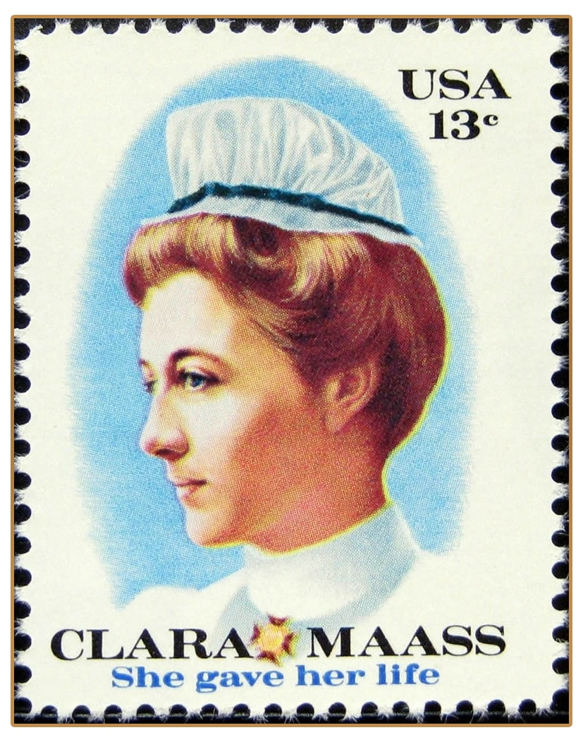 """The US issued a commemorative stamp in her honor on the 100th anniversary of Maass' birth in 1976 with the subtitle """"She gave her life."""""""