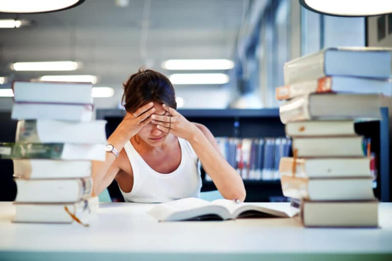 Frustrated Female nursing Student worried if she'll pass