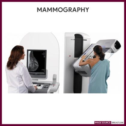 Patient undergoing a routine 3D-mammogram.