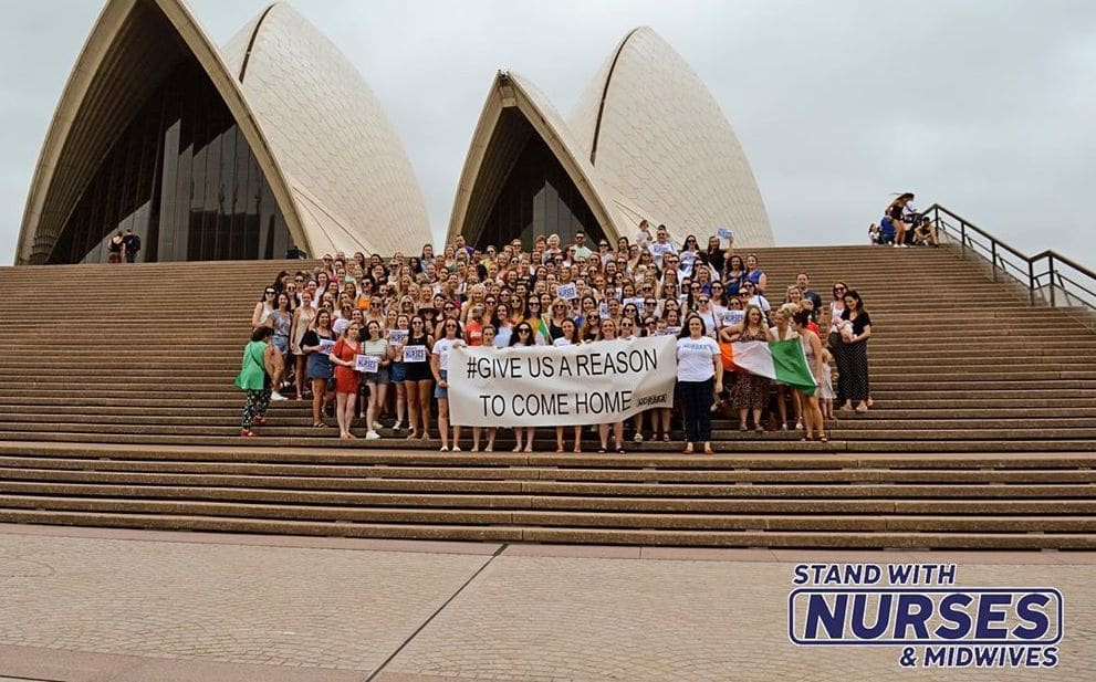 Today over 250 Irish nurses working in Sydney stand together to send a message of support to all Irish nurses and midwives on the up coming strike on January 30th.