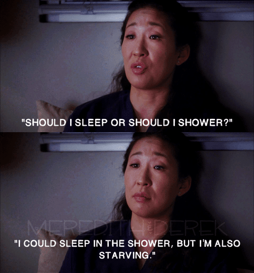 Sleep, shower, or eat? So tired nurse meme