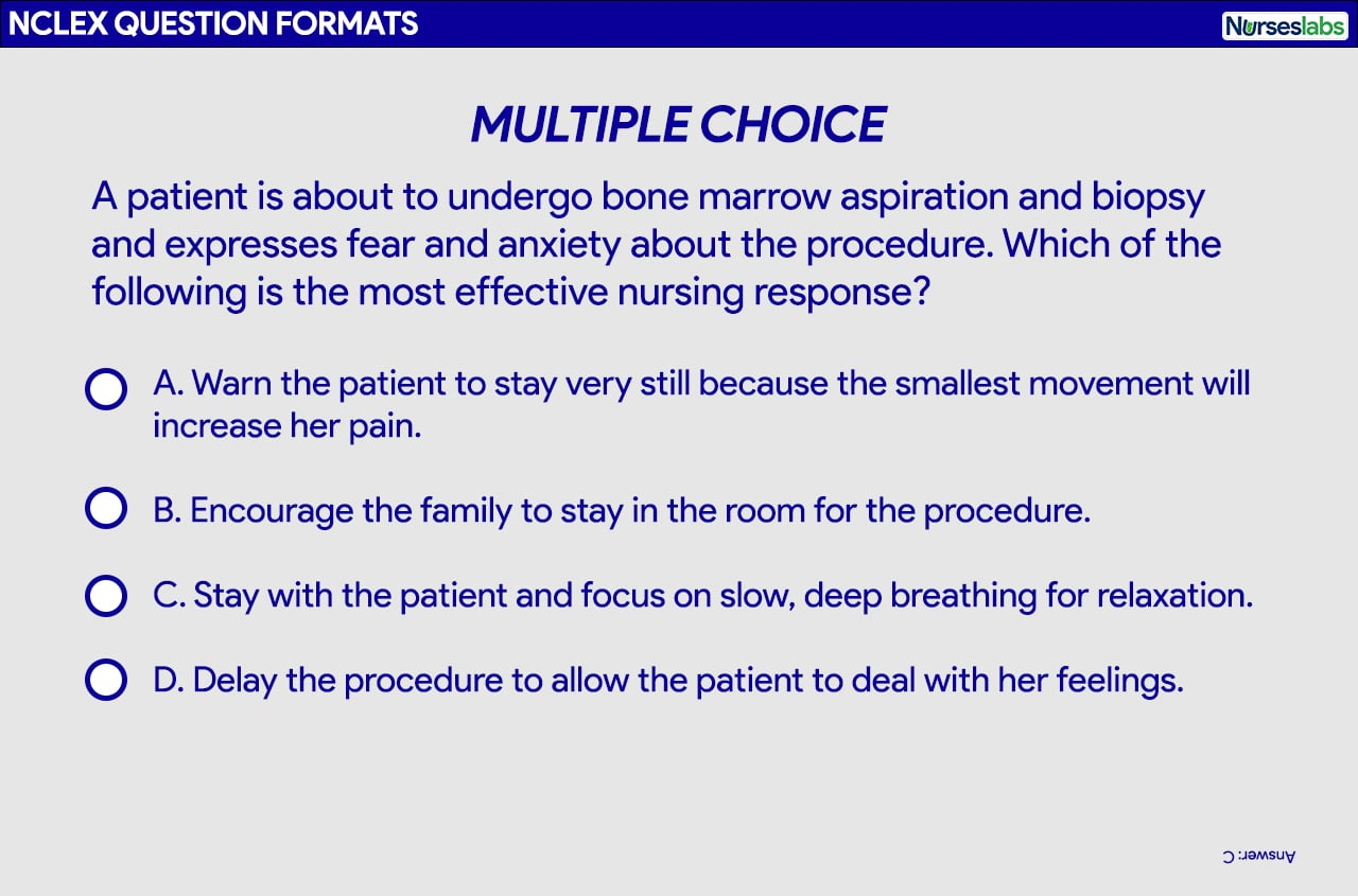 Multiple-choice question format for the NCLEX