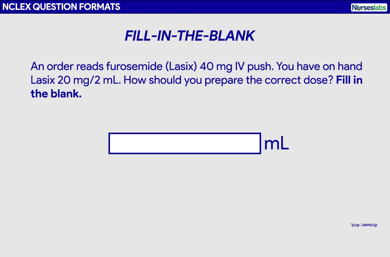 Fill-in-the-Blank question format for the NCLEX