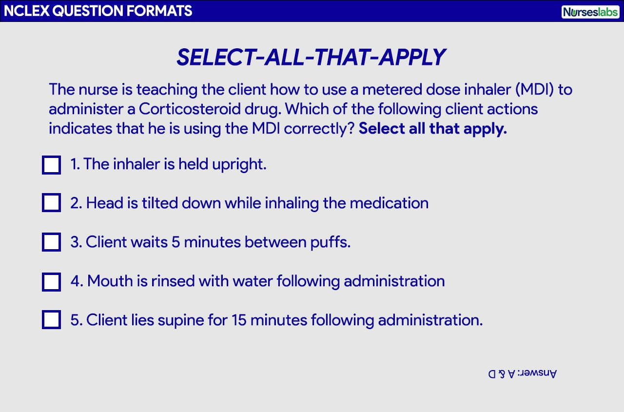 Select All That Apply Question format for the NCLEX