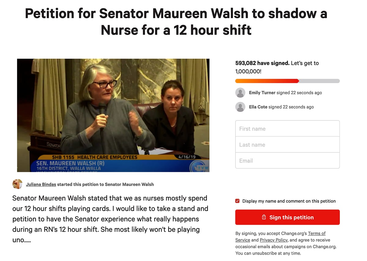 Petition for Senator Maureen Walsh to shadow a Nurse for a 12 hour shift
