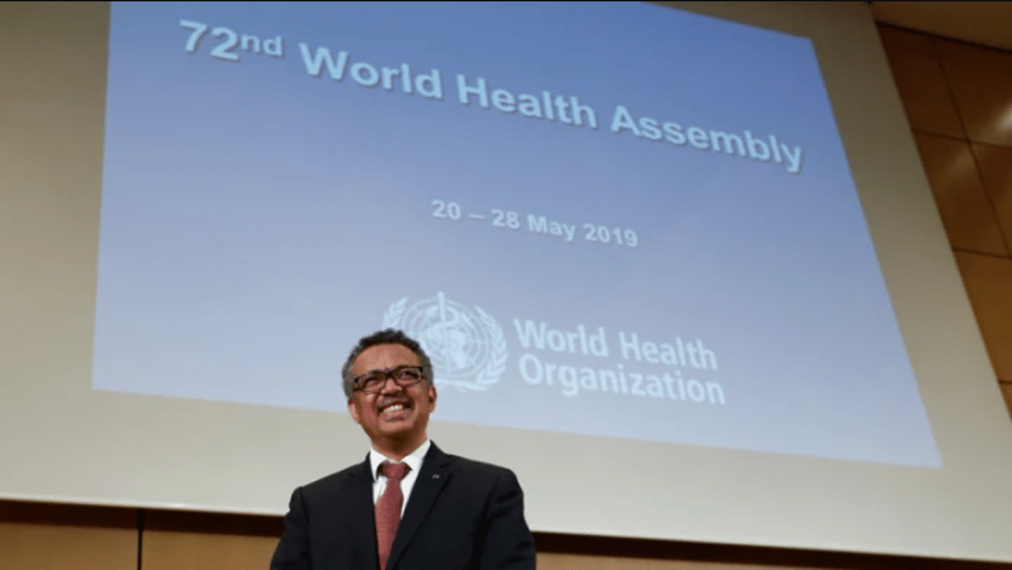 WHO Director-General Dr. Tedros Adhanom Ghebreyesus during the opening of the 72nd World Health Assembly