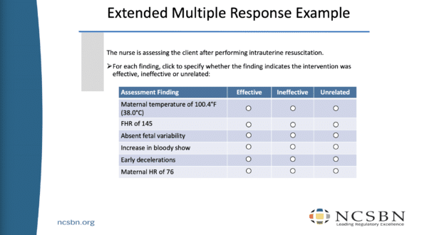 NCLEX Next Generation Item Types Extended Multiple Response Sample
