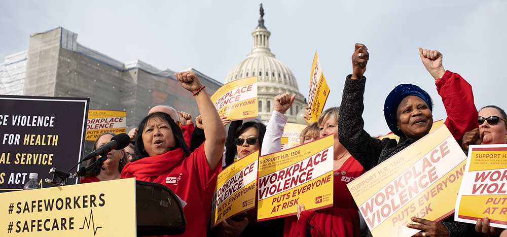 National Nurses United (NNU) supporting H.R. 1309 –a bill to prevent workplace violence for health care workers. Image via NNU
