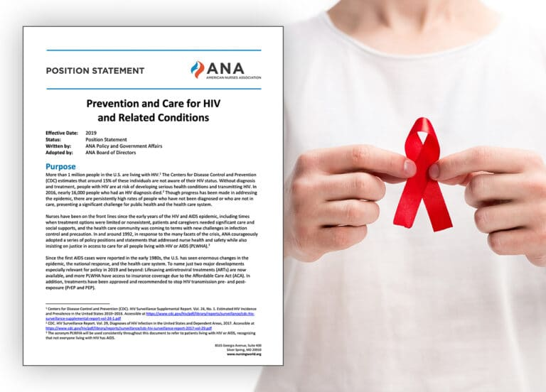 ANA Position Statements on HIV/AIDS