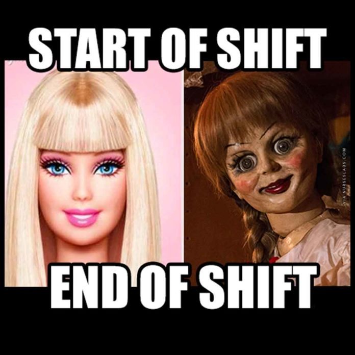 Start of Nursing Shift and End of Nursing Shift Meme