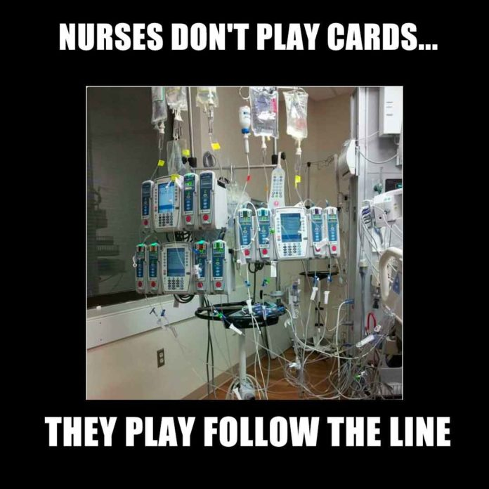 Nurses Playing Card Meme: Nurses Follow the Line