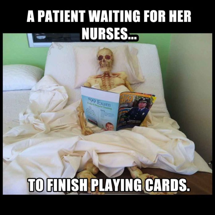 Nurses Playing Card Meme: Skeleton Patient