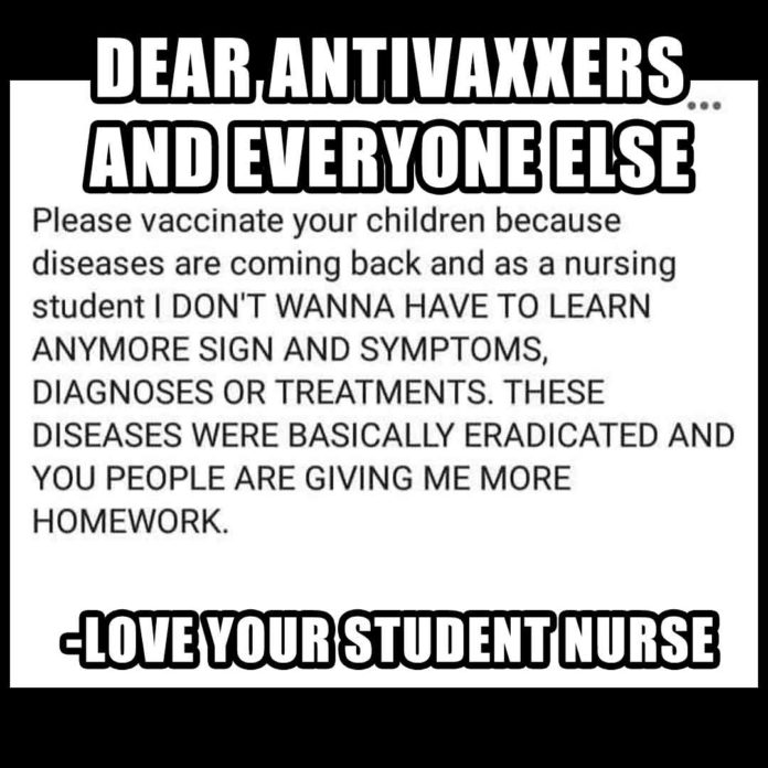 Student Nurse Meme to Antivaxxers