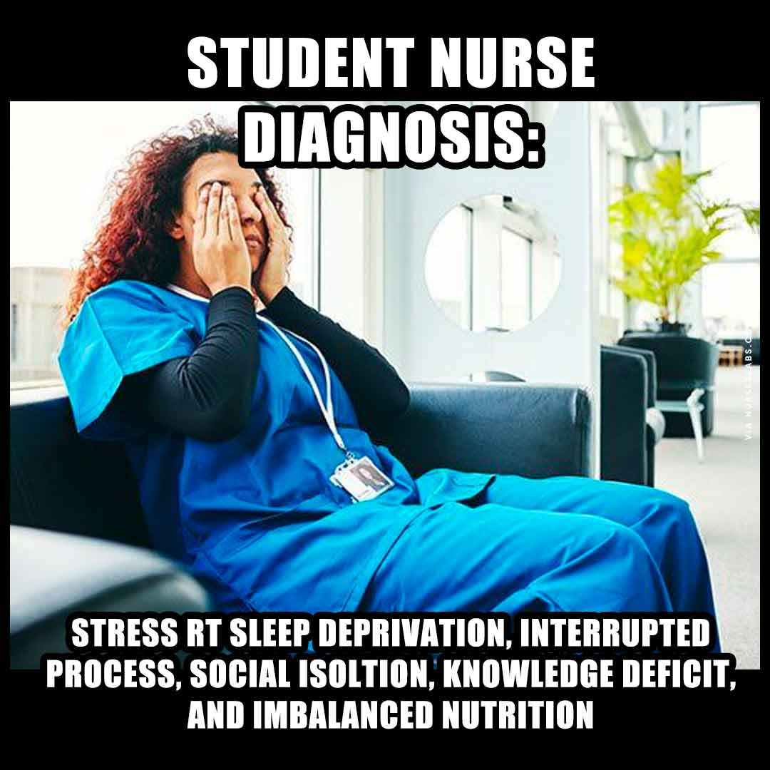 Student Nurse Diagnosis Meme: Sleep Deprivation, Stress, Imbalanced Nutrition
